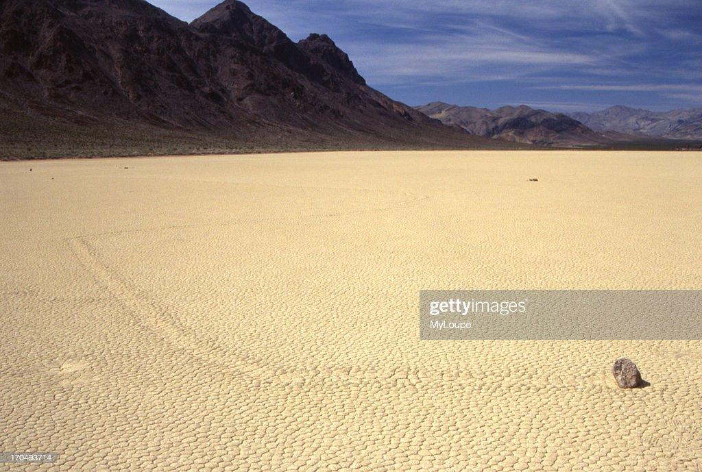 Sliding Rock At The Racetrack Playa Dry Lake At Death Valley National Park Ca USA
