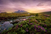 Colorful sunset over the Scottish Higlands, river Sligachan, Scotland