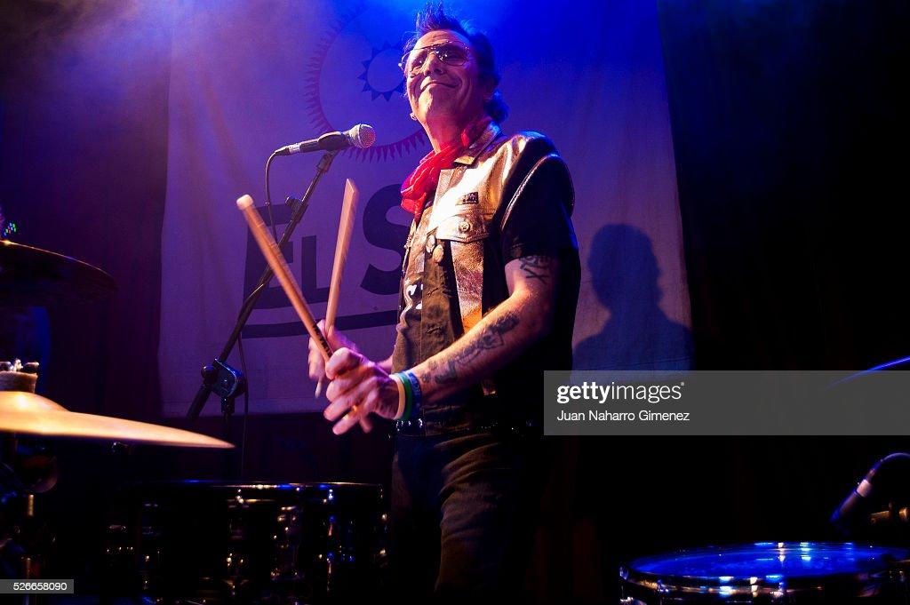 Slim Jim Phantom performs on stage at Sala El Sol on April 30, 2016 in Madrid, Spain.