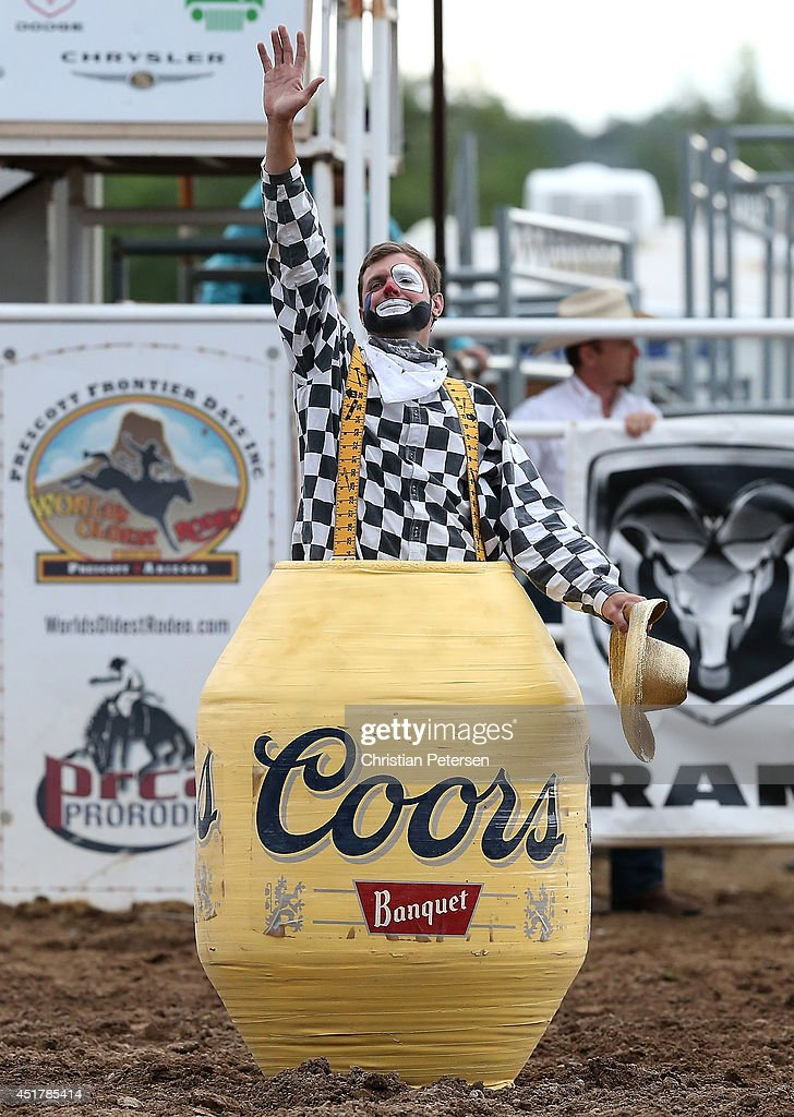 'Slim' the rodeo clown performs at the Prescott Frontier Days 'World's Oldest Rodeo' on July 5, 2014 in Prescott, Arizona.