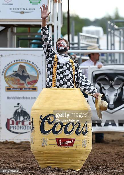 'Slim' the rodeo clown performs at the Prescott Frontier Days 'World's Oldest Rodeo' on July 5 2014 in Prescott Arizona