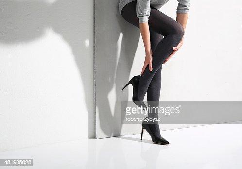 Slim Womans Legs In Pantyhose Stock Photo