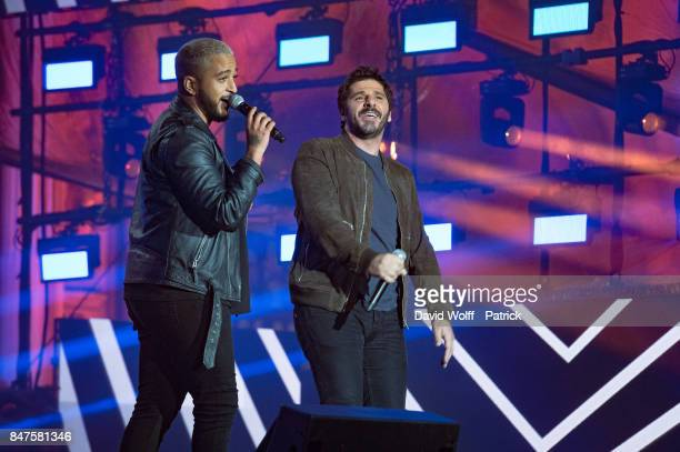 Slimane and Patrick Fiori perform during Paris Olympic Games celebration at Mairie de Paris on September 15 2017 in Paris France