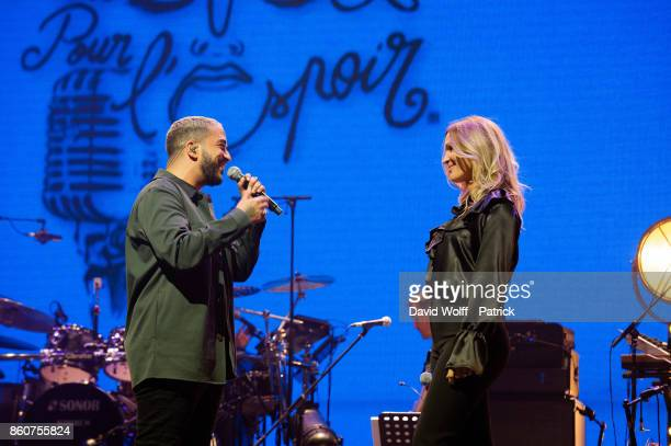 Slimane and Vitaa perform during Leurs Voix pour l' Espoir at L'Olympia on October 12 2017 in Paris France