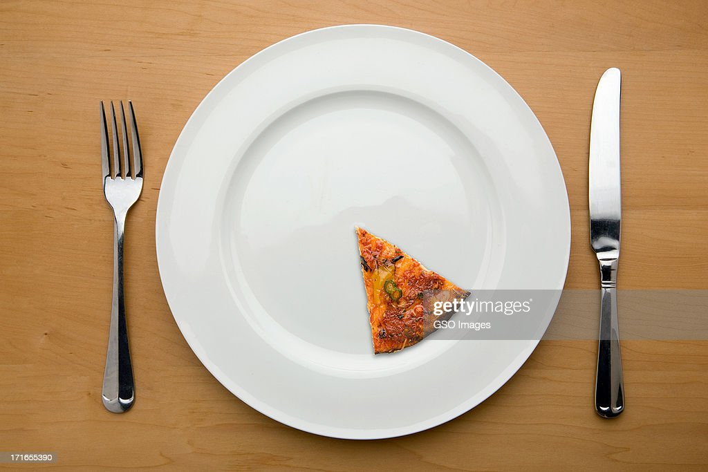 Slimmers portion of a pizza on a plate