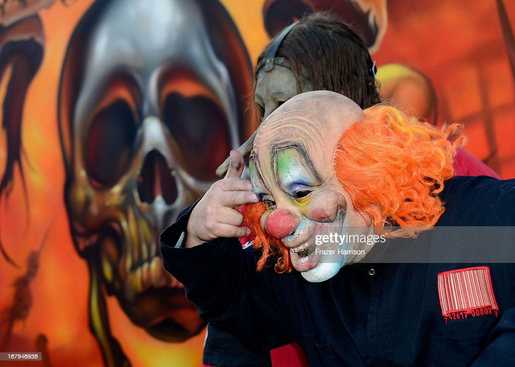 Slipknot arrive at the 5th Annual Revolver Golden Gods Award Show at Club Nokia on May 2, 2013 in Los Angeles, California.