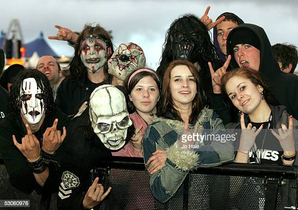 Slipknot fans in front of stage at the third and final day of this year's Download Festival on June 12 2005 in at Donington Park England The annual...