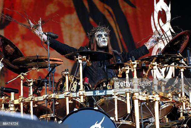 Slipknot headline performance on the main stage at day two of the Download Festival at Donington Park on June 13 2009 in Castle Donington England