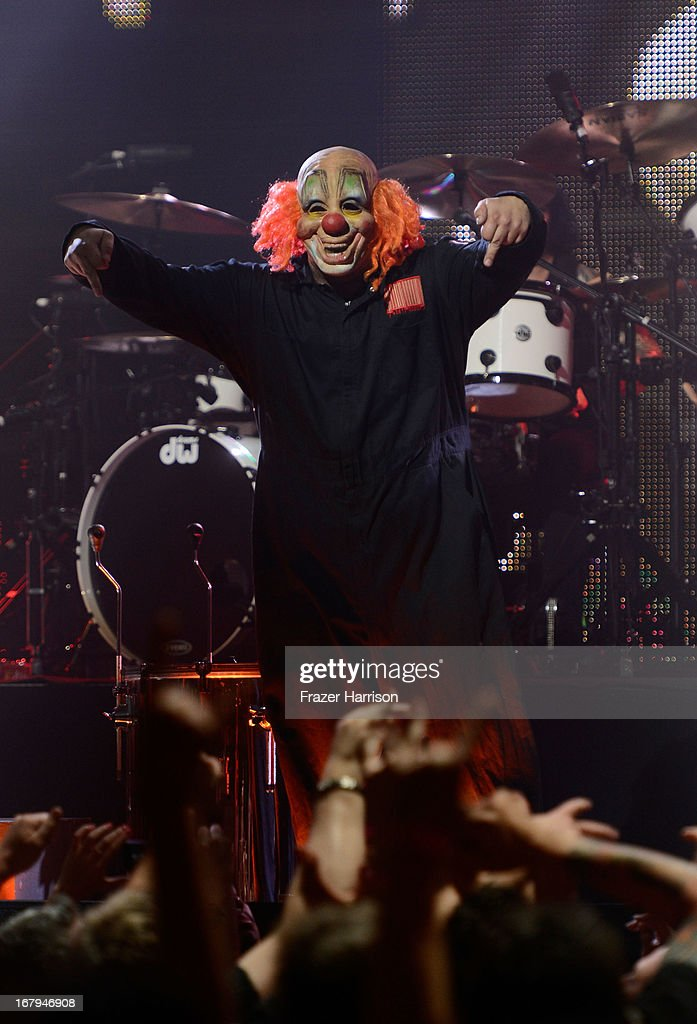 Slipknot perfomr at the 5th Annual Revolver Golden Gods Award Show at Club Nokia on May 2, 2013 in Los Angeles, California.