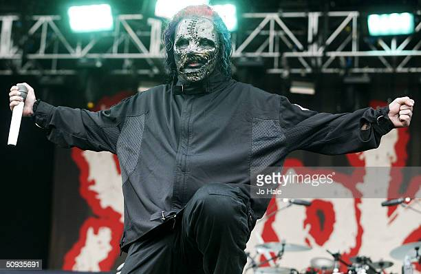 Slipknot perform on stage at day two of the 'Download Festival' at Donington Park on June 6 2004 in Leicestershire England The rock festival features...