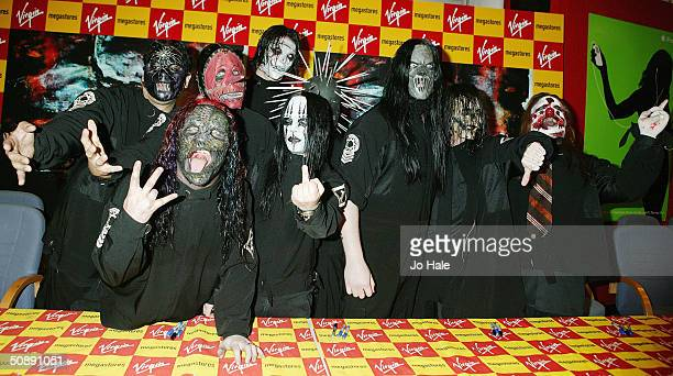 Slipknot sign copies of their new album 'Vol 3 The Subliminal Verses' at Virgin Megastore Oxford Street on May 23 2004 in London