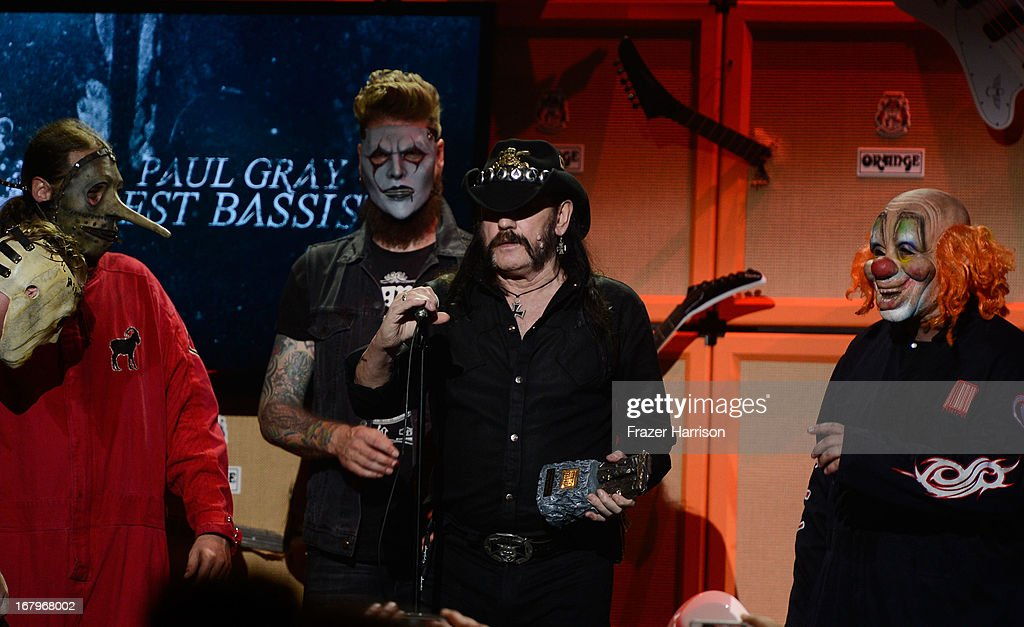 Slipknot with Musician Lemmy Kilmister at the 5th Annual Revolver Golden Gods Award Show at Club Nokia on May 2, 2013 in Los Angeles, California.