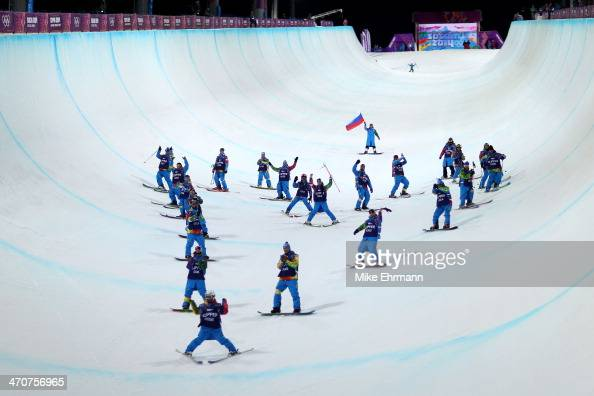 Slippers create a heart shape down the halfpipe after the Freestyle Skiing Ladies' Ski Halfpipe Finals on day thirteen of the 2014 Winter Olympics at...