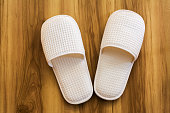 slippers on wood floor  background