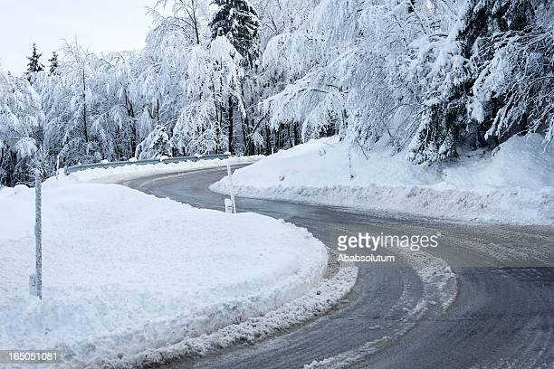 Slippery Road Bend in Winter Slovenia Europe