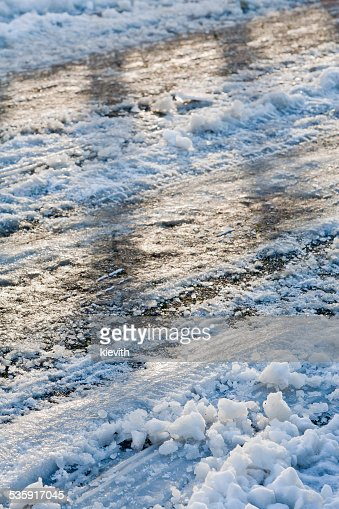 Slippery road in winter : Stock Photo