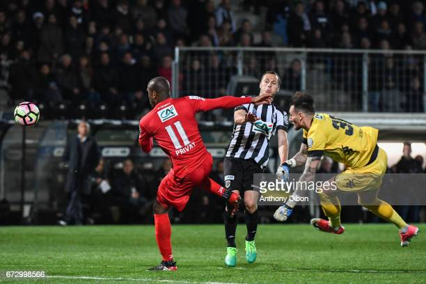 Sloan Privat of Guingamp and Alexandre Letellier of Angers during the Semi final of the French Cup match between Angers and Guingamp at Stade Jean...