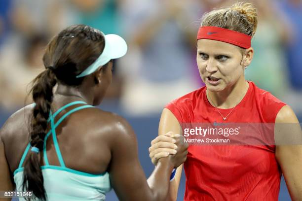Sloane Steohens acknowledges is congratulated by Lucie Safarova of Czech Republic after their match during day 4 of the Western Southern Open at the...