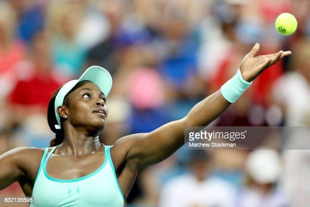 Sloane Steohens serves to Lucie Safarova of Czech Republic during day 4 of the Western Southern Open at the Lindner Family Tennis Center on August 14...