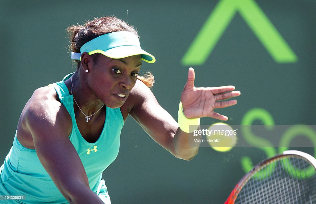 Sloane Stephens hits a backhand in the third set against Olga Govortsova in a second-round match during the Sony Open tennis tournament at Crandon Park in Key Biscayne, Florida, Wednesday, March 20, 2013.