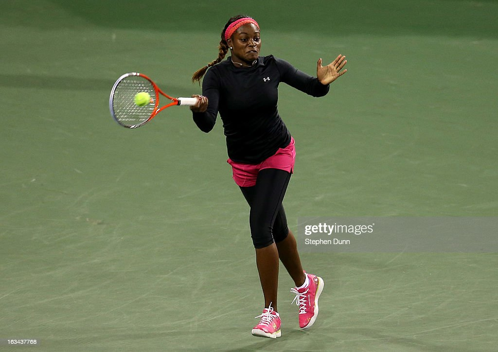 <a gi-track='captionPersonalityLinkClicked' href=/galleries/search?phrase=Sloane+Stephens&family=editorial&specificpeople=5510187 ng-click='$event.stopPropagation()'>Sloane Stephens</a> hits a return to Urszula Radwanska of Poland during day 4 of the BNP Paribas Open at Indian Wells Tennis Garden on March 9, 2013 in Indian Wells, California.