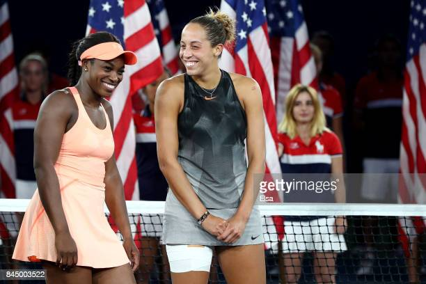 Sloane Stephens of the United States and Madison Keys of the United States pose prior to the trophy presentation after their Women's Singles finals...