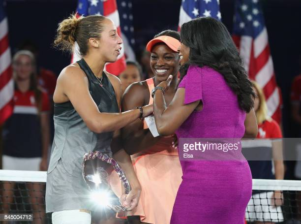 Sloane Stephens of the United States and Madison Keys of the United States laugh during the trophy presentation after the Women's Singles finals...
