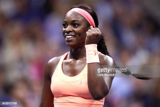 Sloane Stephens of the United States celebrates a point against Venus Williams of the United States during their Women's Singles Semifinal match on...
