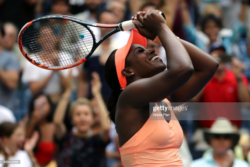 Sloane Stephens of the United States celebrates after defeating Anastasija Sevastova of Latvia in their Women's Singles Quarter Final match on Day Nine of the 2017 US Open at the USTA Billie Jean King National Tennis Center on September 5, 2017 in the Flushing neighborhood of the Queens borough of New York City.