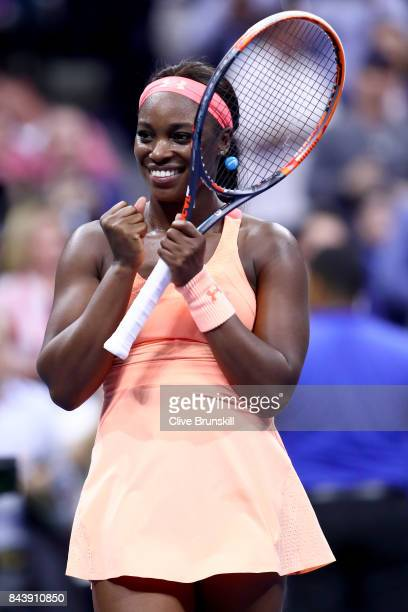 Sloane Stephens of the United States celebrates after defeating Venus Williams of the United States in their Women's Singles Semifinal match on Day...