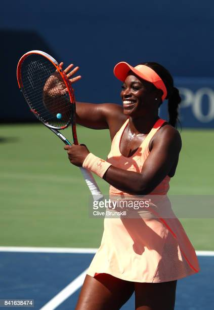 Sloane Stephens of the United States celebrates her third round match victory against Ashleigh Barty of Australia on Day Five of the 2017 US Open at...
