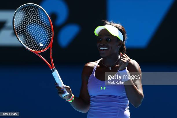 Sloane Stephens of the United States celebrates winning her Quarterfinal match against Serena Williams of the United States during day ten of the...