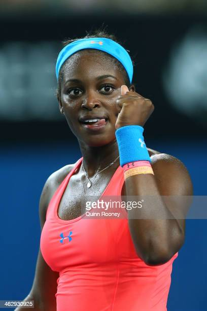 Sloane Stephens of the United States celebrates winning her second round match against Ajla Tomljanovic of Croatia during day four of the 2014...