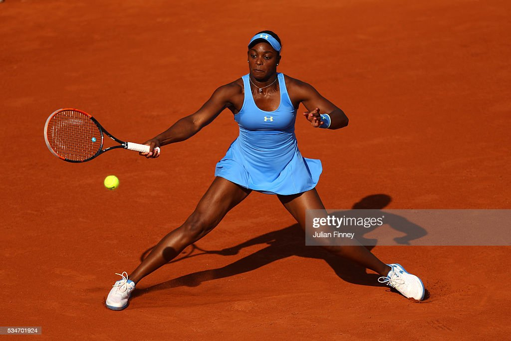<a gi-track='captionPersonalityLinkClicked' href=/galleries/search?phrase=Sloane+Stephens&family=editorial&specificpeople=5510187 ng-click='$event.stopPropagation()'>Sloane Stephens</a> of the United States hits a forehand during the Ladies Singles third round match against Tsvetana Pironkova of Bulgaria on day six of the 2016 French Open at Roland Garros on May 27, 2016 in Paris, France.