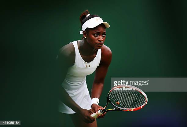 Sloane Stephens of the United States in action during her Ladies' Singles first round match against Maria Kirilenko of Russia on day one of the...
