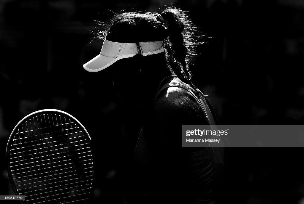 Sloane Stephens of the United States looks on in her fourth round match against Bojana Jovanovski of Serbia during day eight of the 2013 Australian Open at Melbourne Park on January 21, 2013 in Melbourne, Australia.