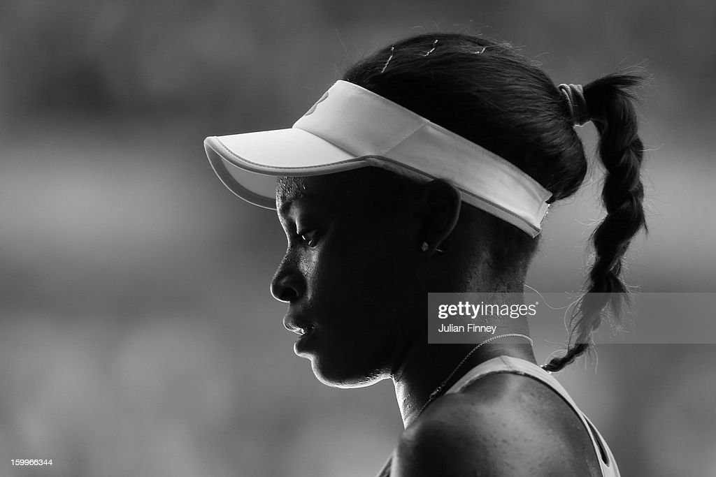 <a gi-track='captionPersonalityLinkClicked' href=/galleries/search?phrase=Sloane+Stephens&family=editorial&specificpeople=5510187 ng-click='$event.stopPropagation()'>Sloane Stephens</a> of the United States looks on in her Semifinal match against Victoria Azarenka of Belarus during day eleven of the 2013 Australian Open at Melbourne Park on January 24, 2013 in Melbourne, Australia.