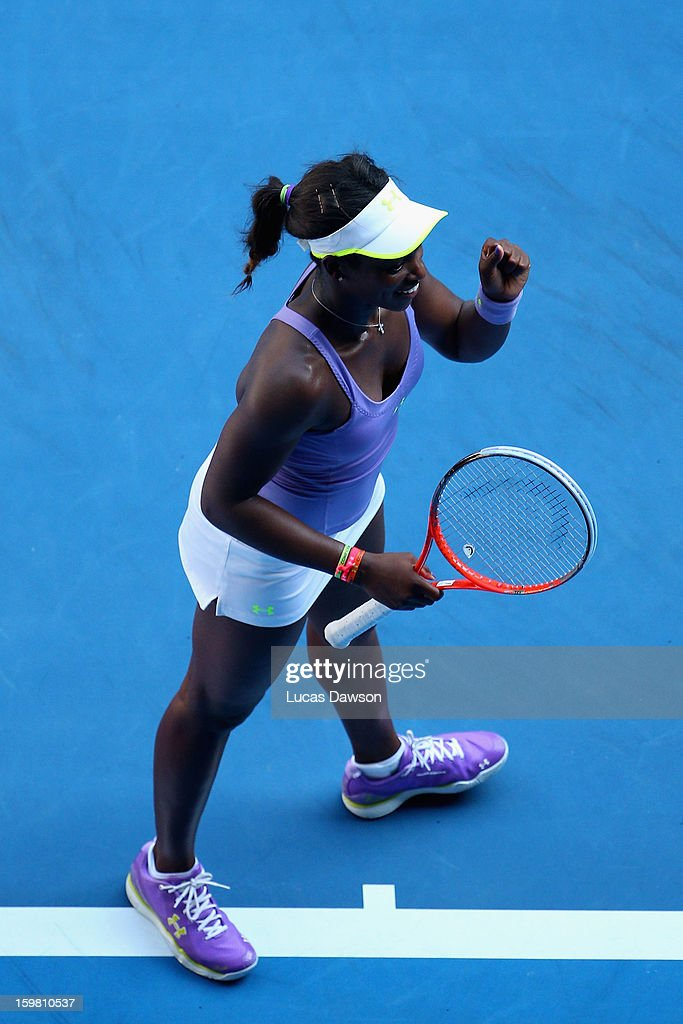 Sloane Stephens of the United States of America celebrates winning her in her fourth round match against Bojana Jovanovski of Serbia during day eight of the 2013 Australian Open at Melbourne Park on January 21, 2013 in Melbourne, Australia.
