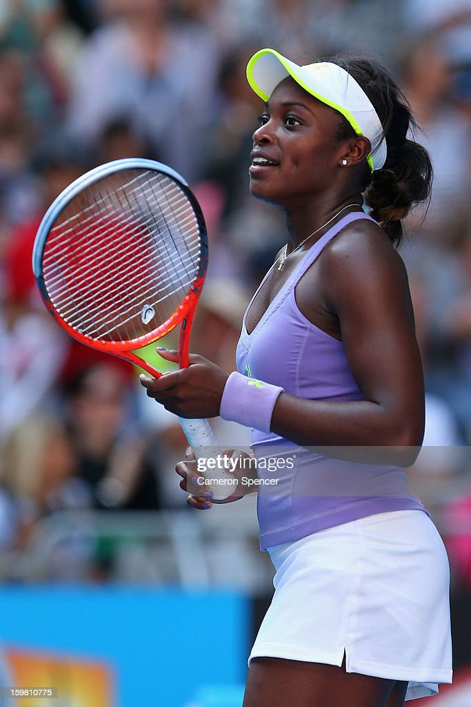 Sloane Stephens of the United States of America celebrates winning her fourth round match against Bojana Jovanovski of Serbia during day eight of the 2013 Australian Open at Melbourne Park on January 21, 2013 in Melbourne, Australia.