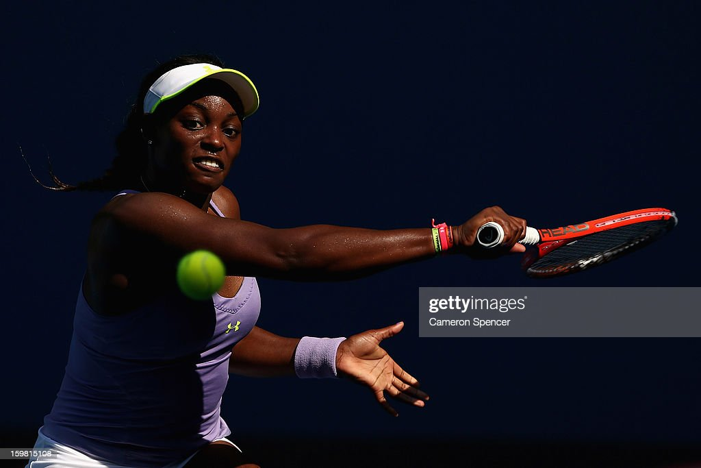 Sloane Stephens of the United States of America plays a backhand in her fourth round match against Bojana Jovanovski of Serbia during day eight of the 2013 Australian Open at Melbourne Park on January 21, 2013 in Melbourne, Australia.