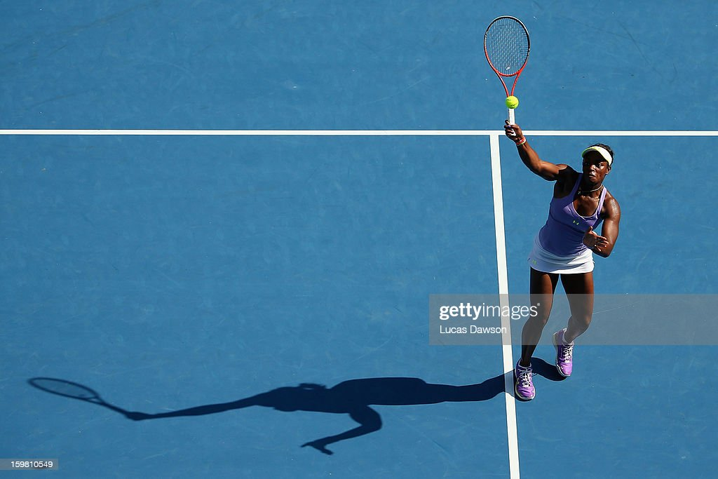 Sloane Stephens of the United States of America plays a forehand in her fourth round match against Bojana Jovanovski of Serbia during day eight of the 2013 Australian Open at Melbourne Park on January 21, 2013 in Melbourne, Australia.
