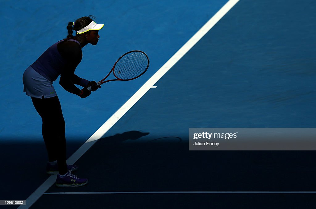 Sloane Stephens of the United States of America prepares to receive serve in her fourth round match against Bojana Jovanovski of Serbia during day eight of the 2013 Australian Open at Melbourne Park on January 21, 2013 in Melbourne, Australia.