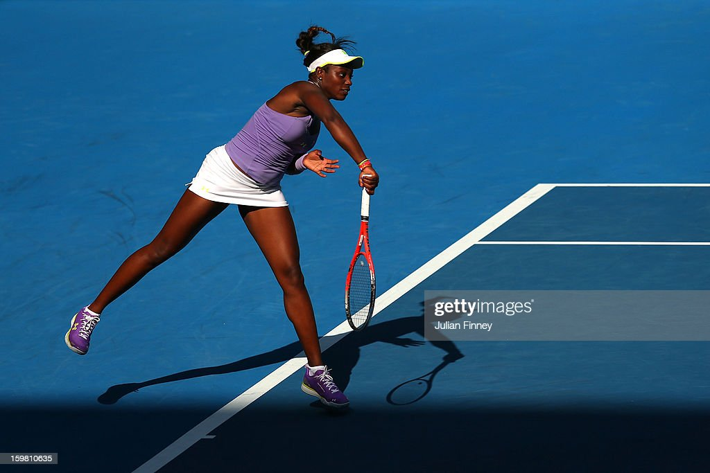 Sloane Stephens of the United States of America serves in her fourth round match against Bojana Jovanovski of Serbia during day eight of the 2013 Australian Open at Melbourne Park on January 21, 2013 in Melbourne, Australia.