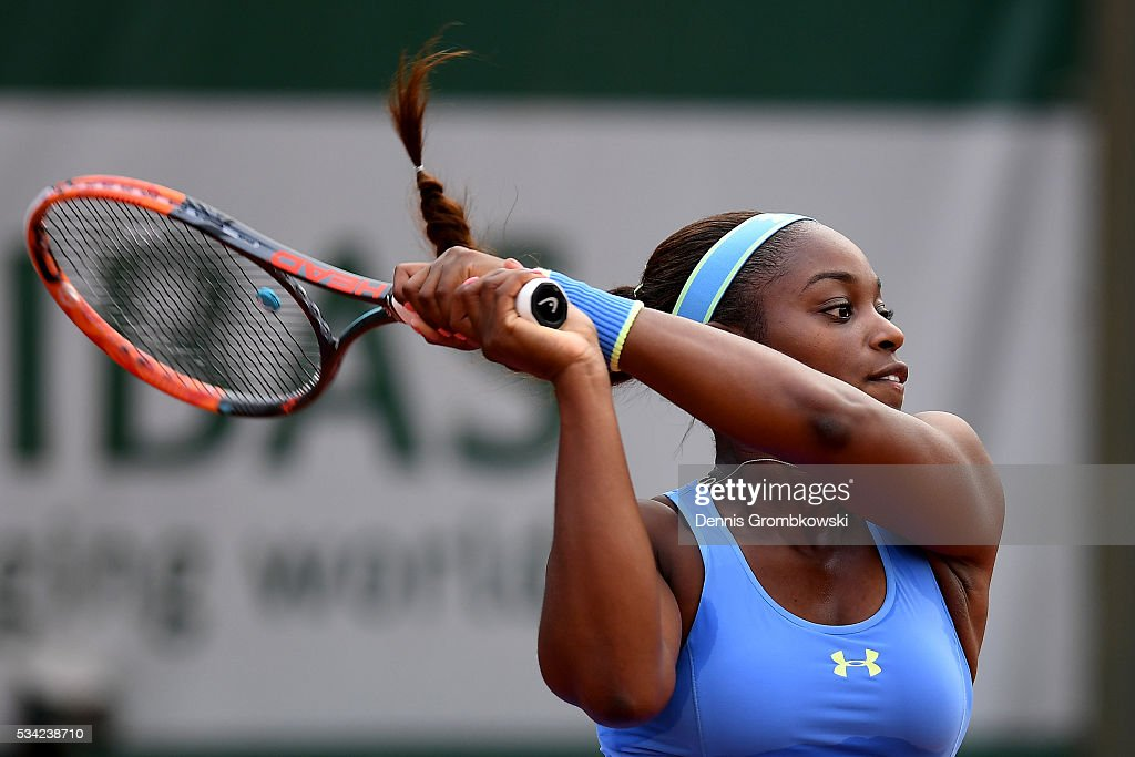 Sloane Stephens of the United States plays a backhand during the Women's Singles second round match against Veronica Cepede Royg of Paraguay on day four of the 2016 French Open at Roland Garros on May 25, 2016 in Paris, France.