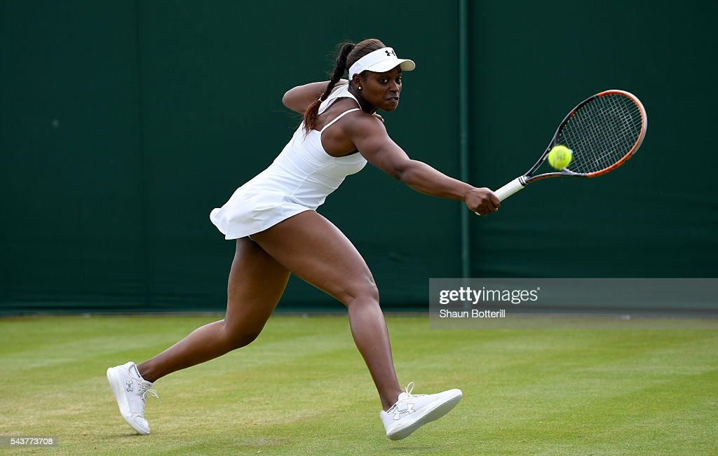 <a gi-track='captionPersonalityLinkClicked' href=/galleries/search?phrase=Sloane+Stephens&family=editorial&specificpeople=5510187 ng-click='$event.stopPropagation()'>Sloane Stephens</a> of The United States plays a backhand during the Ladies Singles first round match against Shai Peng of China on day four of the Wimbledon Lawn Tennis Championships at the All England Lawn Tennis and Croquet Club on June 30, 2016 in London, England.