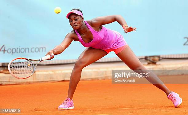 Sloane Stephens of the United States plays a forehand against Petra Cetkovska of the Czech Republic in their second round match during day four of...
