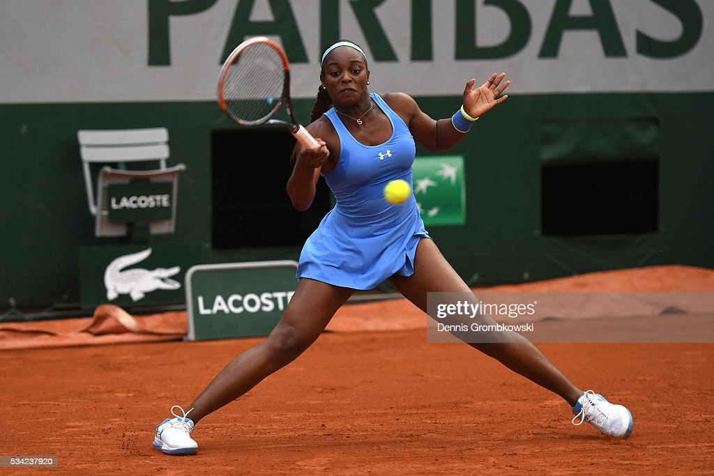 Sloane Stephens of the United States plays a forehand during the Women's Singles second round match against Veronica Cepede Royg of ParaguaySloane Stephens of the United States on day four of the 2016 French Open at Roland Garros on May 25, 2016 in Paris, France.