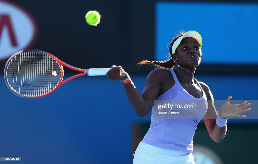 Sloane Stephens of the United States plays a forehand in her third round match against Laura Robson of Great Britain during day six of the 2013 Australian Open at Melbourne Park on January 19, 2013 in Melbourne, Australia.