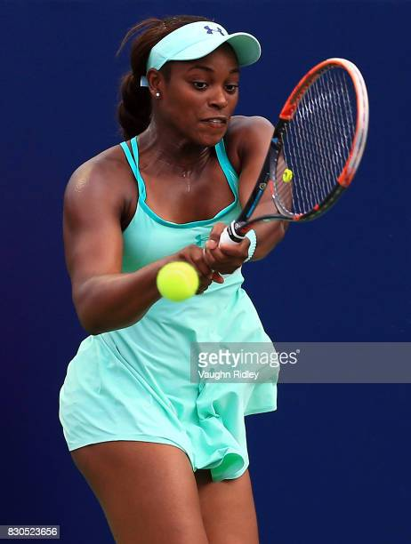Sloane Stephens of the United States plays a shot against Lucie Safarova of Czech Republic during Day 7 of the Rogers Cup at Aviva Centre on August...