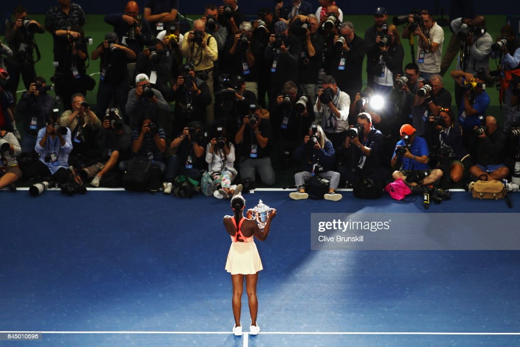 Sloane Stephens of the United States poses with the championship trophy during the trophy presentation after the Women's Singles finals match on Day Thirteen of the 2017 US Open at the USTA Billie Jean King National Tennis Center on September 9, 2017 in the Flushing neighborhood of the Queens borough of New York City. Sloane Stephens defeated Madison Keys in the second set with a score of 6-3, 6-0.